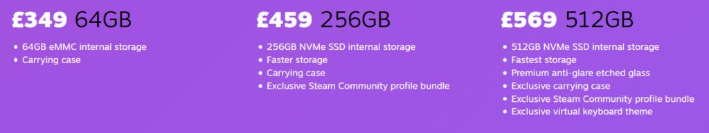 steam deck prices